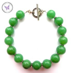 Green Aventurine Bracelet with Silver Toggle Clasp
